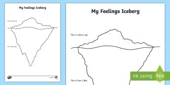My Feelings Iceberg Activity Sheet - anxiety, anxious, worried, worksheet, emotion