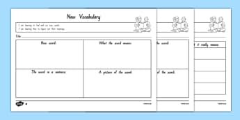 New Vocabulary Differentiated Activity Sheets, worksheet