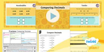 PlanIt Y4 Fractions Compare Decimals Lesson Pack - Decimals, decimal numbers, compare, comparing, one decimal place, 1 decimal place, two decimal place