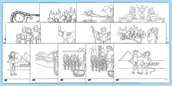 Moses Story Coloring Sheets - usa, america, Moses, Egypt, Hebrews, slaves, Pharaoh, basket, God, colouring, fine motor skills, poster, worksheet, vines, A4, display, palace, shepherd, burning bush, plague, Promised Land, law, stone, ten commandments,