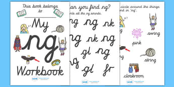 My 'ng' Letter Blend Workbook (Cursive) - workbook, ng, letters, blend, alphabet, activity, handwriting, blends, letter, letter blends