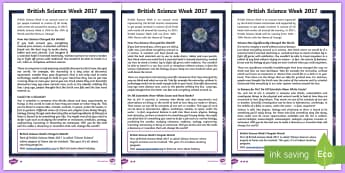British Science Week 2017 Differentiated Fact File - science week, science, reading comp, reading comprehension, reading test, go respond, interactive
