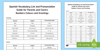 Summer Fun Pronunciation Guide to Spanish Greetings, Numbers and Colours Parent and Carer Information Sheet - pronunciation, languages, learn language, Spain, numbers, colours