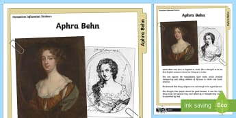 Humanism Influential Thinkers Aphra Behn Information Sheet - Humanism, Aphra Behn, Influential Thinkers