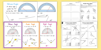 Types of Angles - angles, triangles, obtuse, acute