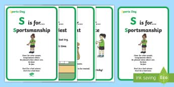 KS1 Sports Day Acrostic Reminders  Display Posters - P.E., Field, Athletic, Values, Facts, Information, Skills