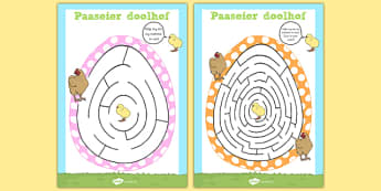Afrikaans Easter Egg Shaped Maze Activity Sheet Pack - afrikaans, easter, egg, maze, worksheet