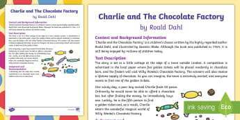 Charlie and The Chocolate Factory by Roald Dahl Review Writing Sample - Literacy, 'Charlie and The Chocolate Factory' by Roald Dahl Review  Writing Sample, year 3, year