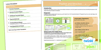 PlanIt Y5 Position and Direction Overview - Position and direction, coordinates, translation, reflection, symmetry, mirror line, vector