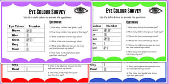 Eye Colour Tally Frequency Maths Challenge Cards - data, maths