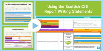 CfE Scottish Report Statements PowerPoint Guide - How to, guide, report cards, report statements, progress cards, help, how to write reports, report w