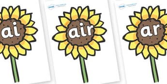 Phase 3 Phonemes on Sunflowers - Phonemes, phoneme, Phase 3, Phase three, Foundation, Literacy, Letters and Sounds, DfES, display