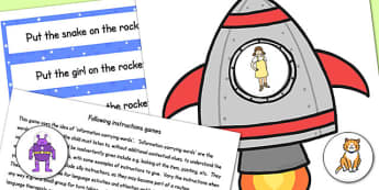 Rocket Following Instructions Word Game 1ICW - space, games