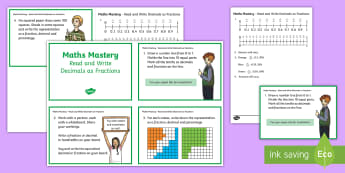 Year 5 Fractions and Decimals, Read Write Decimals as Fractions Maths Mastery Challenge Cards - Year 5 Maths Mastery Activities, fractions, decimals, equivalent,Read and write decimal numbers as f