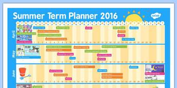 Summer Term 2016 Calendar Planner - summer term, 2016, calendar, summer, term, year, plan