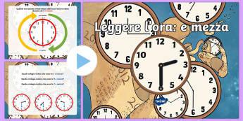 Leggere L'Ora: Mezz'ora Presentazione Powerpoint - Leggere, l, ora, orlogio, analogico, italiano, italian, presentazione, powerpoint