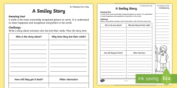 A Smiley Story Activity Sheet - Amazing Fact Of The Day, activity sheets, powerpoint, starter, morning activity, May, story, writing