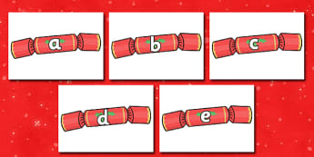 A-Z Alphabet on Christmas Crackers - Christmas, xmas, cracker, advent, nativity, santa, father christmas, Jesus, tree, stocking, present, activity, cracker, angel, snowman, advent , bauble, A-Z,  Alphabet frieze, Display letters, Letter posters, A-Z