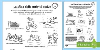 La sfida della attività estive Fogli da colorare - estate, estivo, attività, sfida, esercizio, italiano, italian, materiale, scolastico