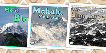 Mountains Group Signs - mountains, mountains of the world, mountain, world,group signs, group labels, group table signs, table sign, teaching groups, class group, class groups, table label,  Asia, The Himalayans, Mount Everest, The Kilimanjaro, Afric