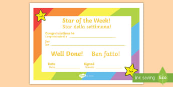 Star of the Week Award Certificate English/Italian - A Star of the Week Certificate to present to children to reward good behaviour. A key strategy in be
