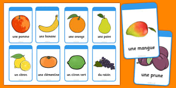 Fruit Flashcards French - french, fruit, flash cards, flashcards