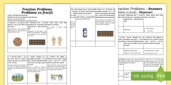 Fraction Problems Activity Sheet English/Romanian - Learning from home Maths Workbooks, worksheet, activity sheet,Romanian-translation