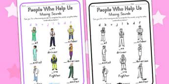 People Who Help Us Prep Missing Sounds Worksheet - sounds, sound