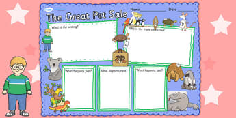 Book Review Writing Frame to Support Teaching on The Great Pet Sale - pets, write, books