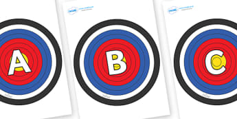 A-Z Alphabet on Plain Targets - A-Z, A4, display, Alphabet frieze, Display letters, Letter posters, A-Z letters, Alphabet flashcards