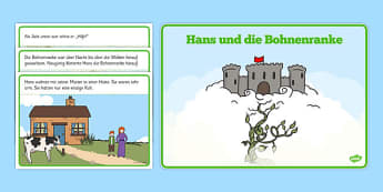Hans und die Bohnenranke Jack and the Beanstalk Story German - german, Jack and the Beanstalk, traditional tales, tale, fairy tale, Jack, giant, beanstalk, beans, golden egg, axe, castle, sky