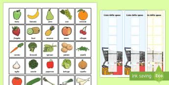 Lista della Spesa e Schede Alimenti - lista, della, spesa, cibo, alimentazione, supermercato, carello, italiano, italian