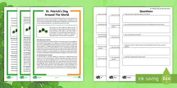 KS2 Saint Patrick\'s Day Around the World Differentiated Comprehension Go Respond  Activity Sheets - KS2 St Patrick's Day UK March 17th 2017, Go Respond, English, Reading Comprehension, ks2-reading-co