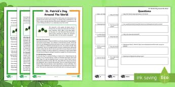 KS2 Saint Patrick\'s Day Around the World Differentiated Comprehension Go Respond  Activity Sheets - KS2 St Patrick's Day UK March 17th 2017, Go Respond, English, Reading Comprehension, ks2-reading-co