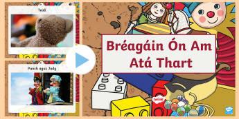 Bréagáin Ón Am Atá Thart PowerPoint Gaelige - Gaeilge, Irish, toys, bréagáin, history, stair, toys from the past, old toys, caitheamh aimsire, h