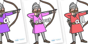 100 High Frequency Words on Archers - High frequency words, hfw, DfES Letters and Sounds, Letters and Sounds, display words