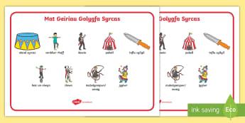 Mat Geiriau Golygfa Syrcas - Y Syrcas, The Circus, mat geiriau golygfa syrcas, y syrcas, mat geiriau, geirfa syrcas, ysgrifennu,