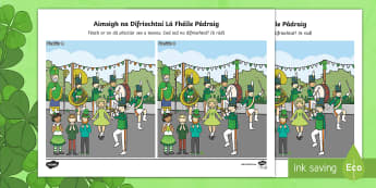 Lá Fhéile Pádraig, Aimsigh na Difríochtaí Activity Sheet-Irish - ROI - St. Patrick's Day Resources, Lá Fhéile Pádraig, Naomh Pádraig, spot the differences, aimi