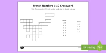French Numbers 1 to 10 Crossword - KS2, French, Resources,numbers to 10, crossword,