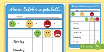 Meine Belohnungstabelle Arbeitsblatt - Meine Belohnungstabelle Arbeitsblatt, Belohnungstabelle, Gutes Verhalten, Schlechtes Verhalten, Belo