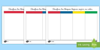 Ficha de actividad por niveles: Clasifica los bloques lógicos según su color - bloques, lógicos, logicos, dienes, material, manipulativo, matemáticas, mates, pensamiento, lógic