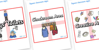 England Themed Editable Square Classroom Area Signs (Plain) - Themed Classroom Area Signs, KS1, Banner, Foundation Stage Area Signs, Classroom labels, Area labels, Area Signs, Classroom Areas, Poster, Display, Areas
