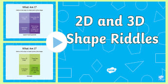 KS1 2D and 3D Shape Riddle PowerPoint - Shape Riddles, Riddles, Maths, Numeracy, Shape, 2D Shapes, 3D Shapes, 2 dimensional shapes, 3 dimens