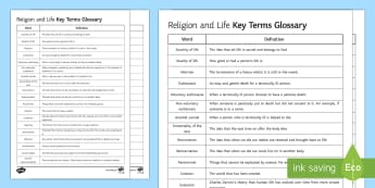 Religion and Life Key Words Activity Sheet -  Religion and Life, glossary, dictionary, revision, exam prep, abortion, homosexuality.