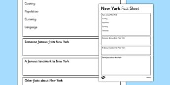 New York Factsheet Writing Template - new york, new york fact sheet, new york fact file, new york worksheet, american capital, capital cities, ks2 places