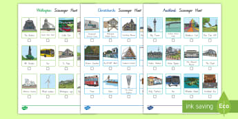 New Zealand Scavenger Hunt Activity Pack - New Zealand, my place, landmarks, Years 1-6, primary, sightseeing, fact sheet, buildings, Aotearoa,