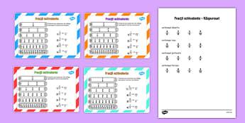 Fracții echivalente - Cartonașe - fracții, fracții echivalente, cartonașe, matematică, romanian, materiale, materiale didactice, română, romana, material, material didactic