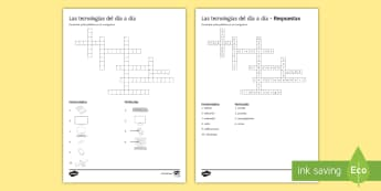 New Technologies Crossword Spanish - KS4, Spanish, New Technologies, everyday, life, ordenador, movil, teléfono, tableta, portatil, vide