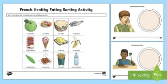 Healthy Eating Sorting Activity Sheet French - French Games, French sorting, healthy food, unhealthy food, sorting, French food, French sorting, so