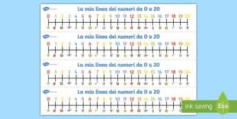 La mia linea dei numeri da 0 a 20 Attività - contare, numeri, linea, de, matematica, 0, a , 20, addizione, sottrazione, elementari, materiale, sc